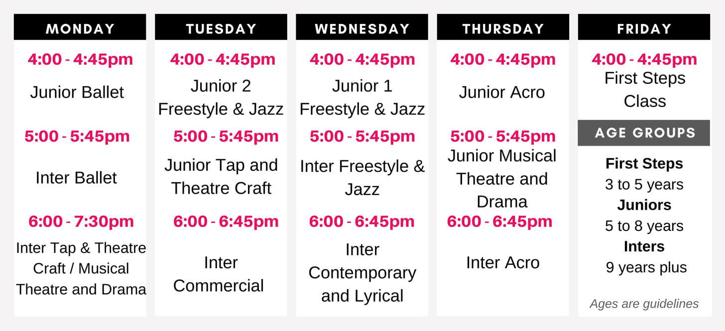 React Dance Class Schedule Autumn Term 2020