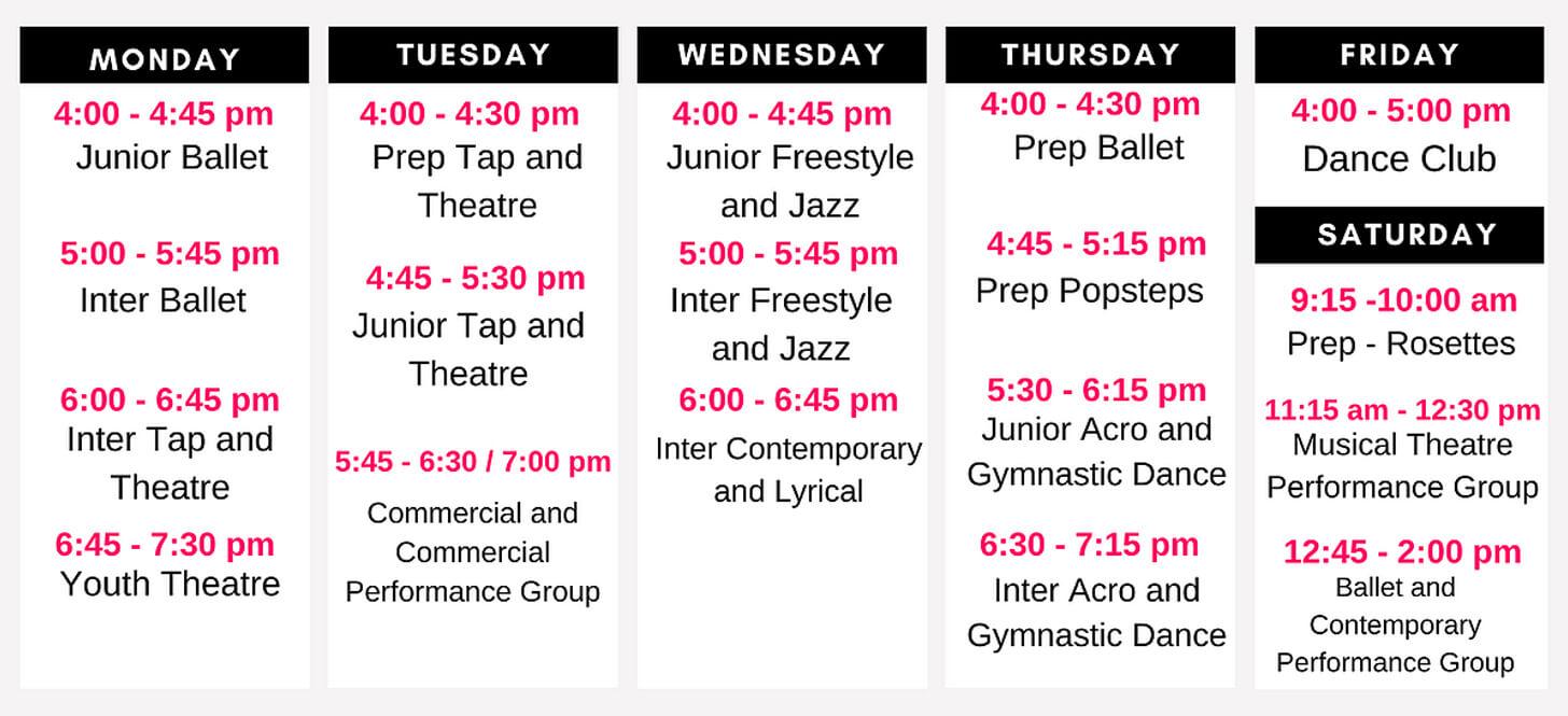React Dance Class Schedule Spring Term 2021