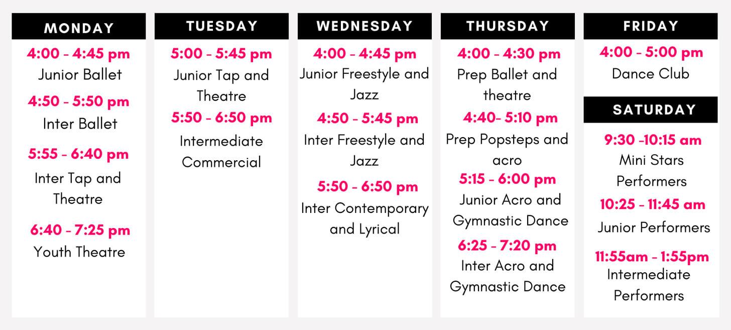 React Dance Class Schedule Autumn Term 2021